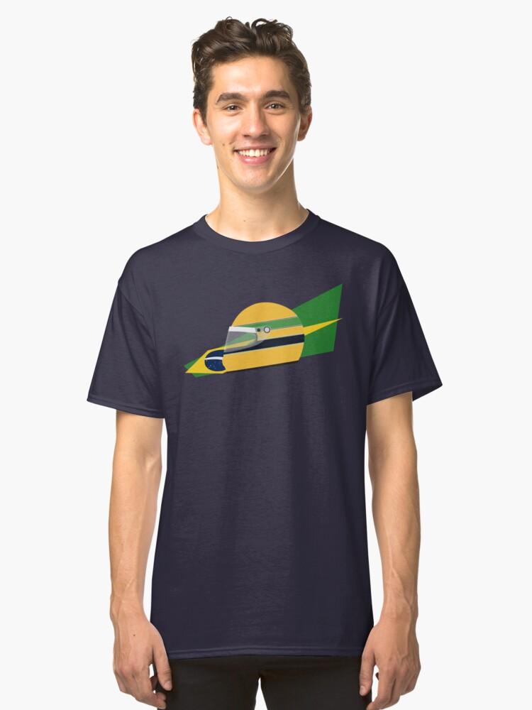 80s Brazilian racing driver helmet Classic T-Shirt Front