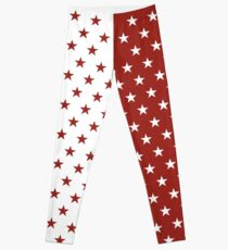 Red and White Stars Leggings