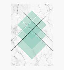 Marble Scandinavian Design Geometric Squares Mint Color Photographic Print
