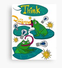 Sticker on a T-shirt from funny frogs.  Canvas Print