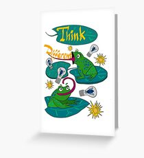 Sticker on a T-shirt from funny frogs.  Greeting Card