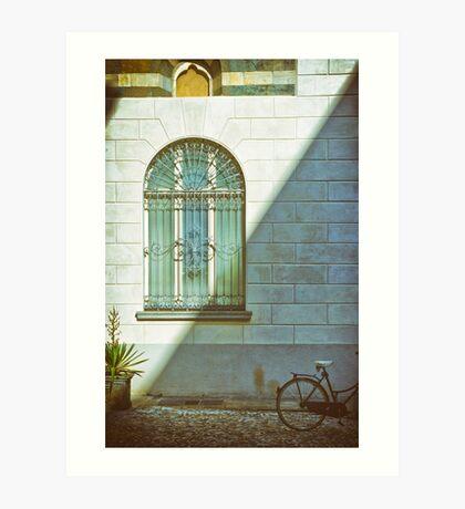 Window, shadow and bicycle Art Print