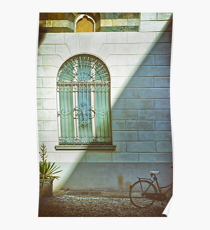 Window, shadow and bicycle Poster