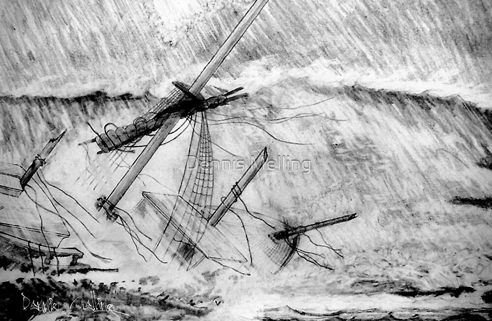 My pencil drawing of the Last Moments of an Old Sailing Ship by Dennis Melling