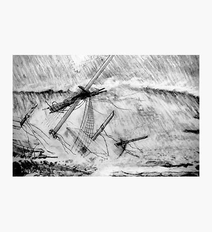My pencil drawing of the Last Moments of an Old Sailing Ship Photographic Print
