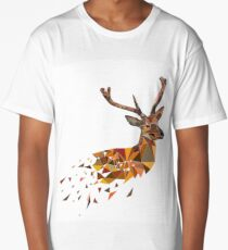 Multicolor deer head with horns in polygonal style Long T-Shirt
