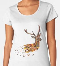 Multicolor deer head with horns in polygonal style Women's Premium T-Shirt