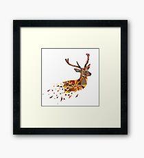 Multicolor deer head with horns in polygonal style Framed Print