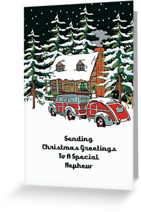 Nephew Sending Christmas Greetings Card by Gear4Gearheads