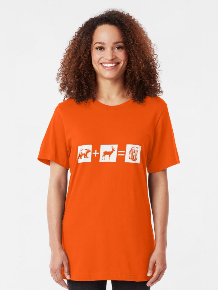 Alternate view of Bear + Deer = Beer Slim Fit T-Shirt
