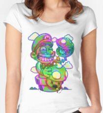 Trippy Mario Tailliertes Rundhals-Shirt