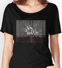 Brooklyn Bridge New York City Skyline Vintage Retro Photography Text Design Women's Relaxed Fit T-Shirt