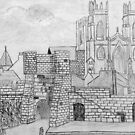 My Pencil Drawing of Bootham Gate and York Minster, Yorkshire, England by Dennis Melling