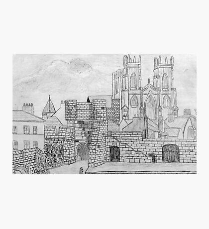 My Pencil Drawing of Bootham Gate and York Minster, Yorkshire, England Photographic Print