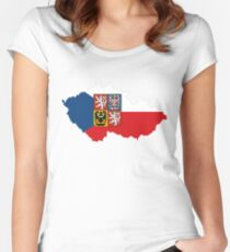 czech republic flag coat of arms Women's Fitted Scoop T-Shirt