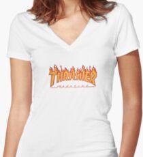 THRASHER LOGO Women's Fitted V-Neck T-Shirt