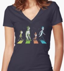 Schwifty Road Women's Fitted V-Neck T-Shirt