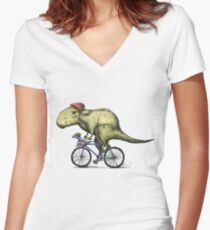 T-rex Bikers Women's Fitted V-Neck T-Shirt