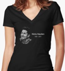 nicky hayden Women's Fitted V-Neck T-Shirt