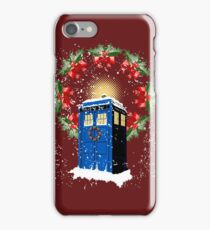 A WARM & COMFORTABLE TARDIS IN THE SNOWSTORM  iPhone Case/Skin