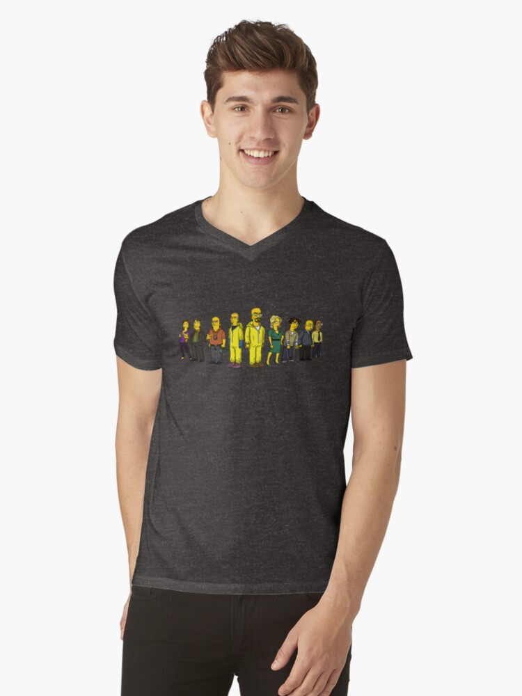 Breaking  Bad - Simpsons Mens V-Neck T-Shirt Front