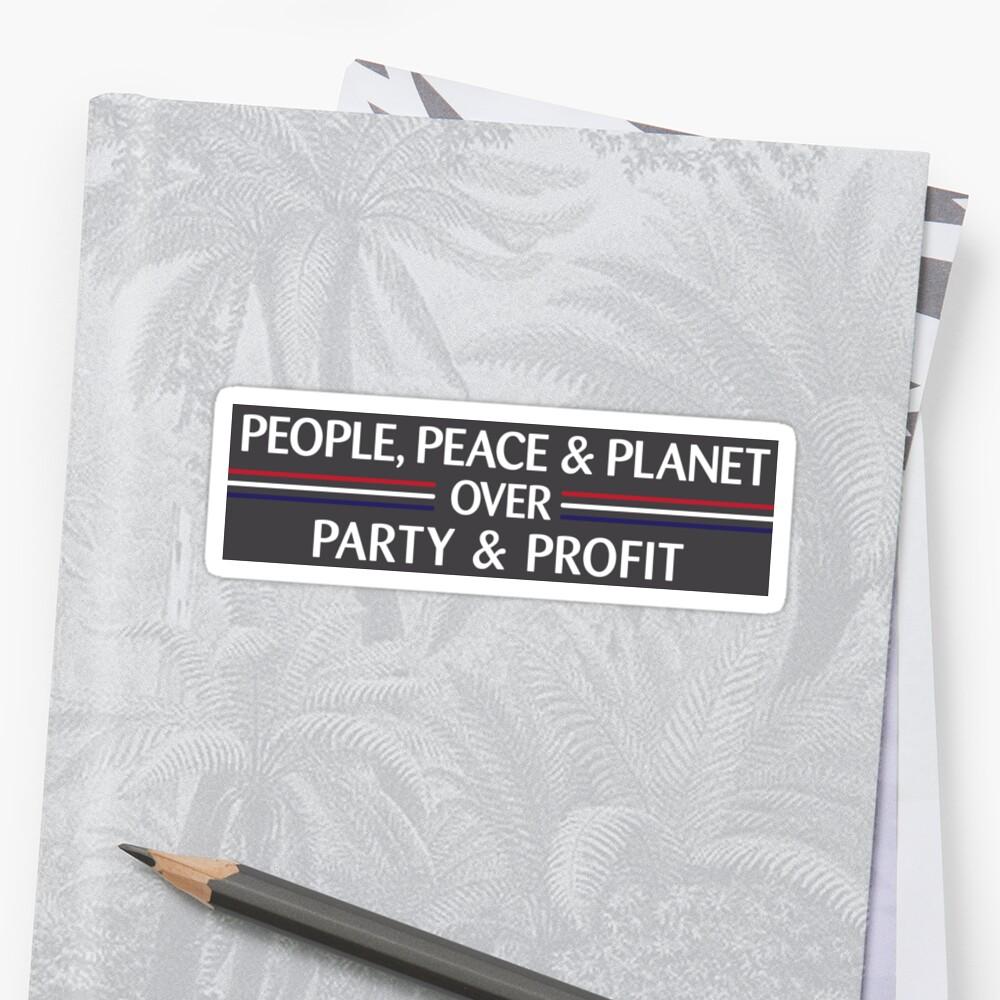 People, Peace & Planet (Gray) Sticker