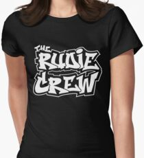 The Rudie Crew Logo on Black Women's Fitted T-Shirt