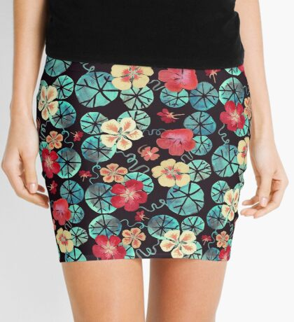 Watercolor Nasturtiums: In the Still of the Night Mini Skirt