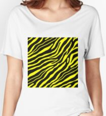 Zebra All Over Print - Yellow | Black Women's Relaxed Fit T-Shirt