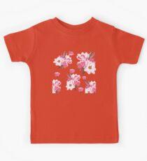Pink Magnolia Watercolor Flowers Kids Tee