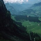 From Trubsee looking down the cable car to end of tramway from Engelberg Switzerland 19840815 0053  by Fred Mitchell