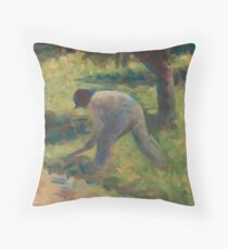 Peasant with a Hoe Oil Painting by Georges Seurat Throw Pillow