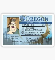 Gravity Falls Soos' Drivers License Sticker Sticker