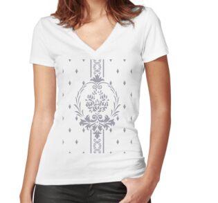 Rosenbouquet Grau Shirt mit V-Ausschnitt