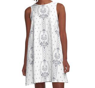 Rosenbouquet Grau A-Linien Kleid
