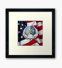 Special Operations Weather Team - SOWT Badge over American Flag Framed Print