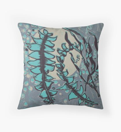 Linocut Banksia Leaves Throw Pillow