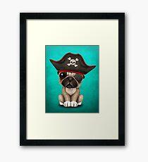 Cute Pug Puppy Pirate Framed Print