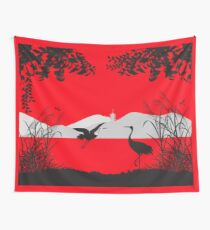 Asian Landscape with Herons Wall Tapestry