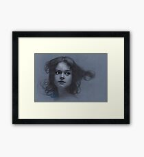 Vintage girl art - surreal drawing on blue paper Framed Print