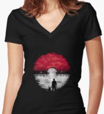 Pokemon Bromance - A Pokeball Moon Rise Women's Fitted V-Neck T-Shirt