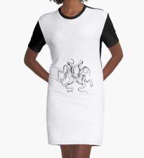 Antike Kraken-Buch-Illustration T-Shirt Kleid
