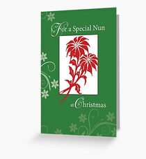 Nun, Christmas Poinsettias Greeting Card