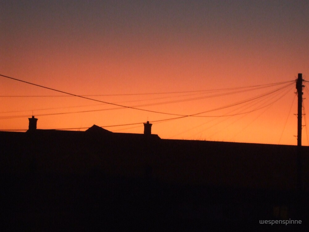 sunset behind the big old school roof by wespenspinne