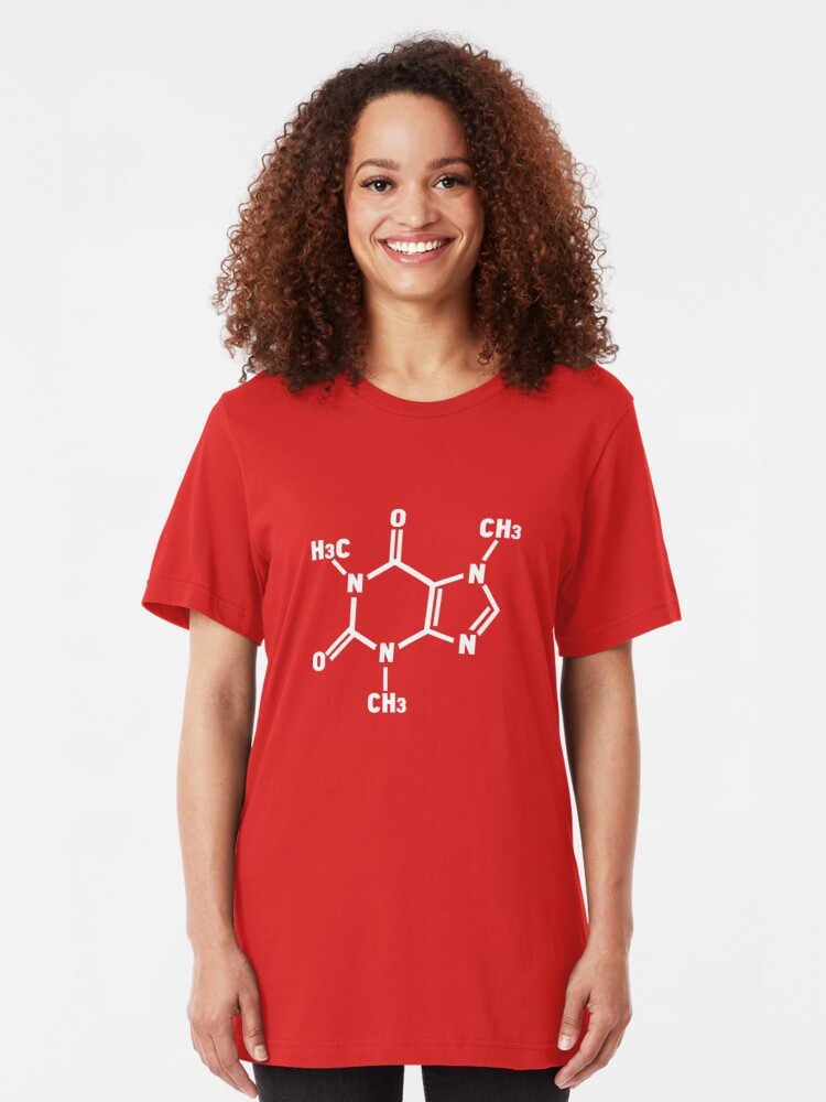 Alternate view of Caffeine Molecule Slim Fit T-Shirt