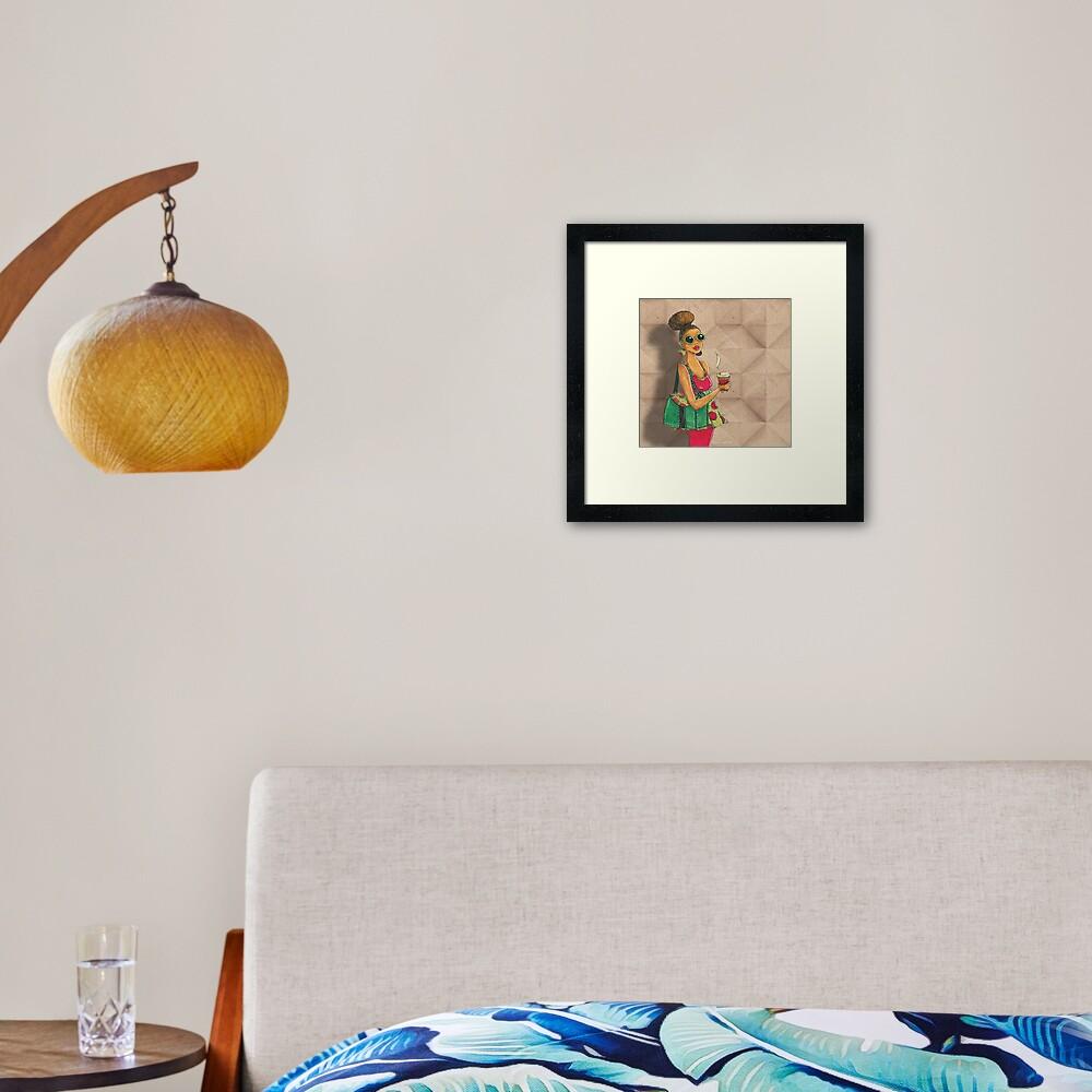 Modern African woman- Morning coffee Framed Art Print