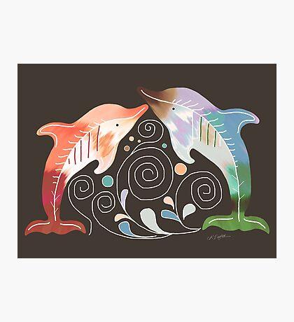 Tie Dye Dolphins Photographic Print