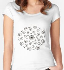 Circle of Lilies (B/W) Women's Fitted Scoop T-Shirt