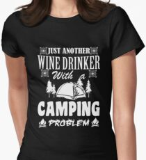 LOVE LOVE LOVE my wine at the campsite Womens Fitted T-Shirt