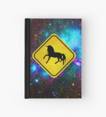 Magical Unicorn Crossing in Space Hardcover Journal
